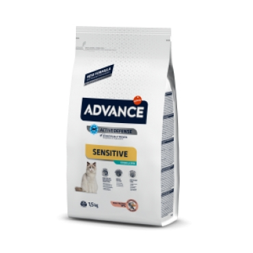 Hrana uscata pisici sterilizate cu probleme digestive, cu somon, Advance Cat Sensitive Sterilized Adult, 10 kg